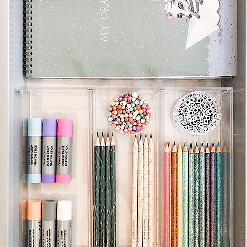 Drawer of colored pencils